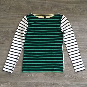J. Crew Waffle Striped Color Block Long Sleeve